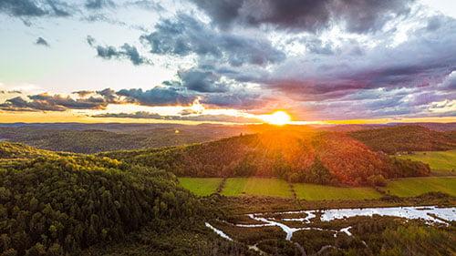 Photo d'un coucher de soleil a Wakefield sur le site d'Eco-Odyssée
