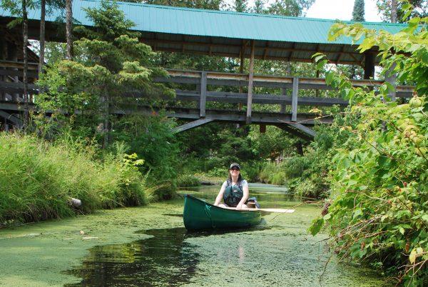 Photograpghie d'un canot dans le marais d'Eco-Odyssée a Wakefield