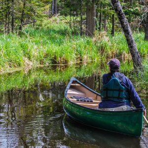 Photo d'un canot dans le labyrinthe d'Eco-odyssée a Wakefield
